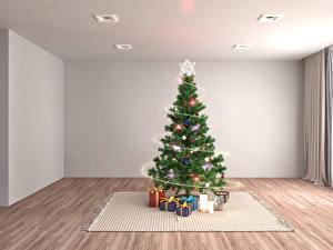 Фото Праздники Рождество Елка Подарки Гирлянда Ковер