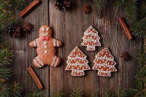 Фотография Праздники Рождество Печенье Корица Доски Дизайн Шишки