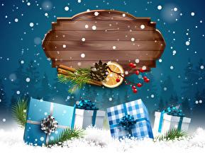 Картинка Праздники Рождество Векторная графика Корица Шаблон поздравительной открытки Подарки Снег Шишки