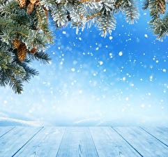 Обои Праздники Рождество Доски Ветки Шишки Снежинки