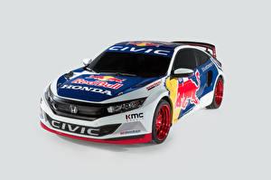 Обои Хонда Тюнинг Серый фон Ралли 2016 Civic Coupe Rallycross Авто