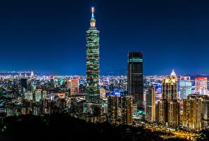Фото Здания Небоскребы Тайвань Китай Ночные Taipei 101 World Financial Center