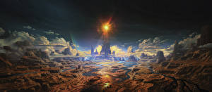 Фотографии Иллюстрации к книгам Фантастический мир Каньон The Lamps of the Valar, Illuin Sky-blue Фантастика