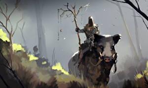 Картинки Иллюстрации к книгам Дикая свинья Воины Cave Wizard