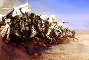 Фото Рыцарь Лошадь Доспехи Меч С копьем Бег November 25, 1177 The battle of Mongitore, The attack of the Templars Фэнтези