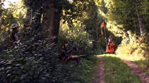 Обои Рыцарь Лошади Мечи Тропинка Фантастика
