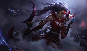 Картинка League of Legends Воин Blood Moon Diana компьютерная игра Фэнтези Девушки