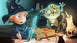 Фотографии Колдун Волшебство Свечи Шляпа Эмоции изумление Книга Magical Fail Смешные