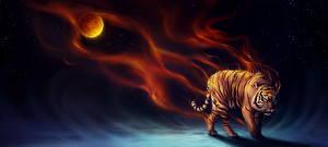 Картинки Волшебные животные Тигры Ночь Фантастика