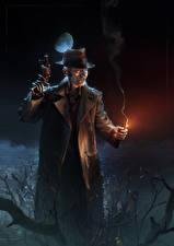Картинка Мужчины Пистолеты Fallout 4 Ночь Шляпа Робот Игры