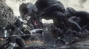 Картинка Чудовище Рыцарь Сражения Dark Souls 3 Игры 3D_Графика Фэнтези