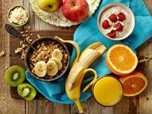 Картинка Мюсли Бананы Сок Апельсин Киви Йогурт Малина Завтрак Продукты питания