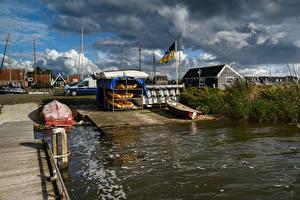 Фотографии Нидерланды Дома Пирсы Лодки Небо Marken Города