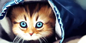 Фотографии Рисованные Коты Усы Вибриссы Смотрит Котята Животные