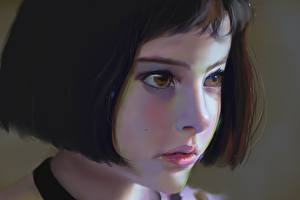 Фотография Рисованные Натали Портман Леон Лицо Шатенка Девочки Дети