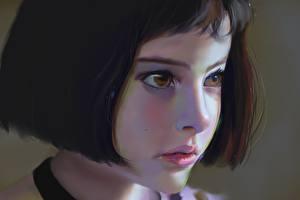Фотография Рисованные Натали Портман Леон Лица Шатенка Девочка Дети