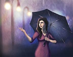 Фотографии Рисованные Дождь Зонтом Девушки