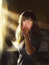 Картинка Рисованные Лучи света Руки Шатенка молодые женщины