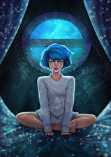 Картинки Рисованные Сидящие Окно Фантастика Девушки