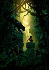 Обои Пантеры Книга джунглей 2016 Мальчики Bagheera, Mowgli, Neel Sethi, Kaa