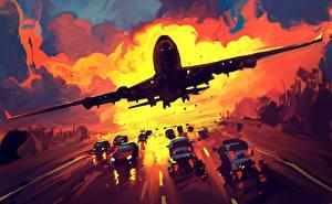 Картинки Пассажирские Самолеты Рисованные Взлет
