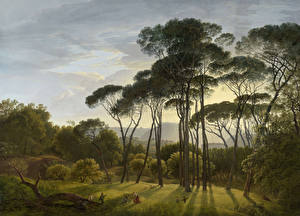 Фотографии Картина Деревья Hendrik Voogd, Italian Landscape with Umbrella Pines