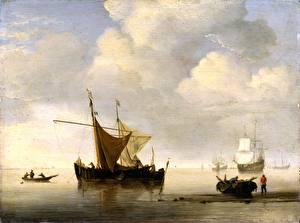 Картинки Живопись Корабли Парусные Willem van de Velde the Younger, Calm, Two Dutch Vessels