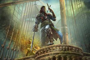 Фотография Пираты Мужчины Пистолеты Quartermaster Фантастика