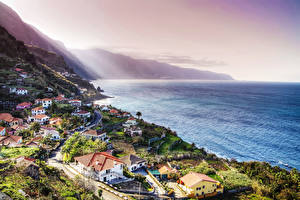 Обои Португалия Берег Здания Madeira Города