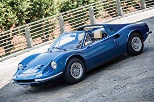 Фотографии Ретро Pininfarina Синие Металлик Кабриолет 1972-74 Dino 246 GTS con l'opzione Flares Worldwide Автомобили