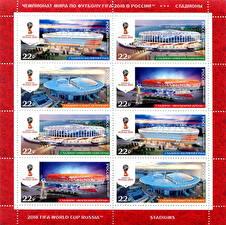Картинка Россия Почтовые марки Стадион FIFA Football World Cup 2018 Russia