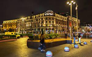 Фото Россия Москва Дома Улица Уличные фонари Ночные Города