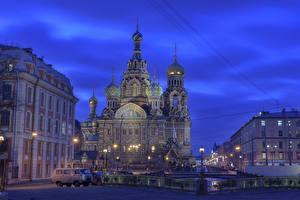 Фотографии Россия Санкт-Петербург Храм Церковь Уличные фонари Забор Ночь город