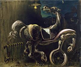 Обои Salvador Dali Живопись Title  Debris of an Automobile Giving Birth to a Blind Horse Biting a Telephone