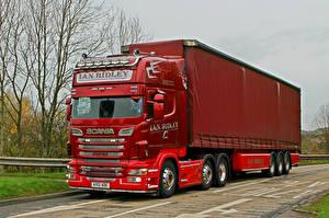 Фотографии Сканиа Грузовики Красный R500 V8 6 x 2 AY12AOE