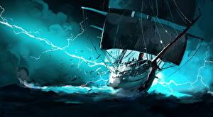 Обои Корабли Парусные Молния Фэнтези