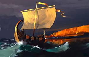 Картинка Корабли Парусные Воины Викинги Фантастика