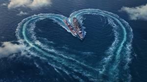 Фотографии Корабли День святого Валентина World Of Warship Море Сердечко Сверху Игры