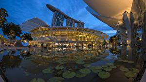 Фото Сингапур Здания Пруд Вечер Дизайн Города
