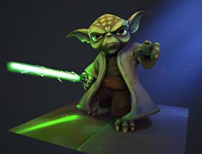 Картинка Звездные войны Мечи Фан АРТ Yoda Кино 3D_Графика