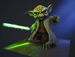Картинка Звездные войны Световой меч Мечи Fan ART Yoda Фильмы 3D_Графика