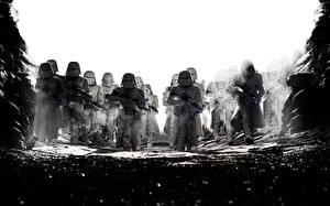 Фотографии Звёздные войны: Последние джедаи Клоны солдаты Черно белое Фильмы