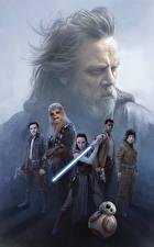 Обои Звёздные войны: Последние джедаи Воины Дэйзи Ридли Меча Rey, Finn, John Boyega, Poe Dameron, Oscar Isaac, ВВ-8, Chewbacca, Luke Skywalker, Mark Hamill