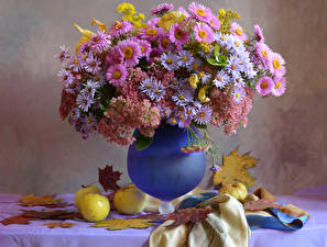 Картинка Натюрморт Букеты Астры Яблоки Вазы Листья цветок