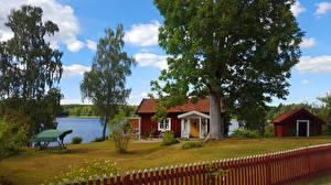Картинки Швеция Дома Деревья Забор Havla Города