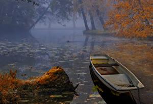 Картинки Швеция Реки Осенние Лодки Туман Природа