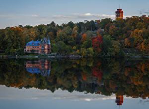 Фото Швеция Речка Леса Здания Осенние Природа