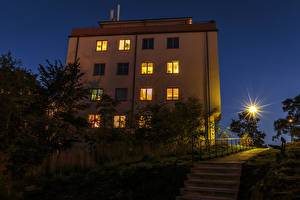 Фотографии Швеция Стокгольм Дома Лестница Ночь