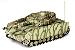 Фотография Танки Игрушки Немецкий Белый фон Pz.Kpfw.IV Ausf.H Армия