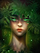 Фотография Лицо Смотрит Листва Tarzan girl Фантастика Девушки